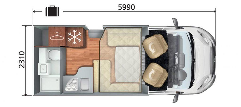 Auto Roller T-Line 590 Automatic Motorhome Floorplan Layout