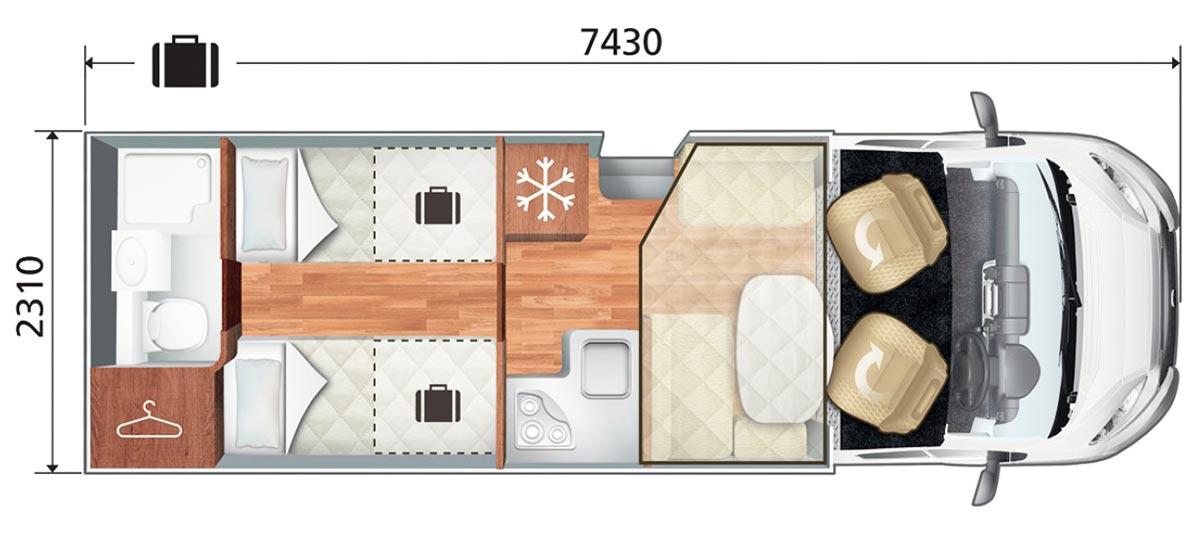 Autoroller T-Line 785 Motorhome Layout